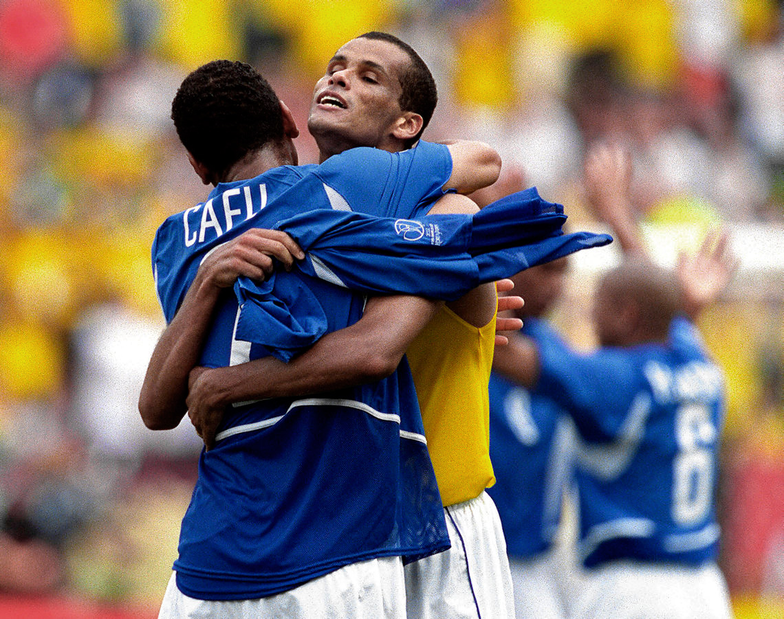 Rivaldo and Cafu of Brazil Celebrate a Win, Shizuoka, Japan