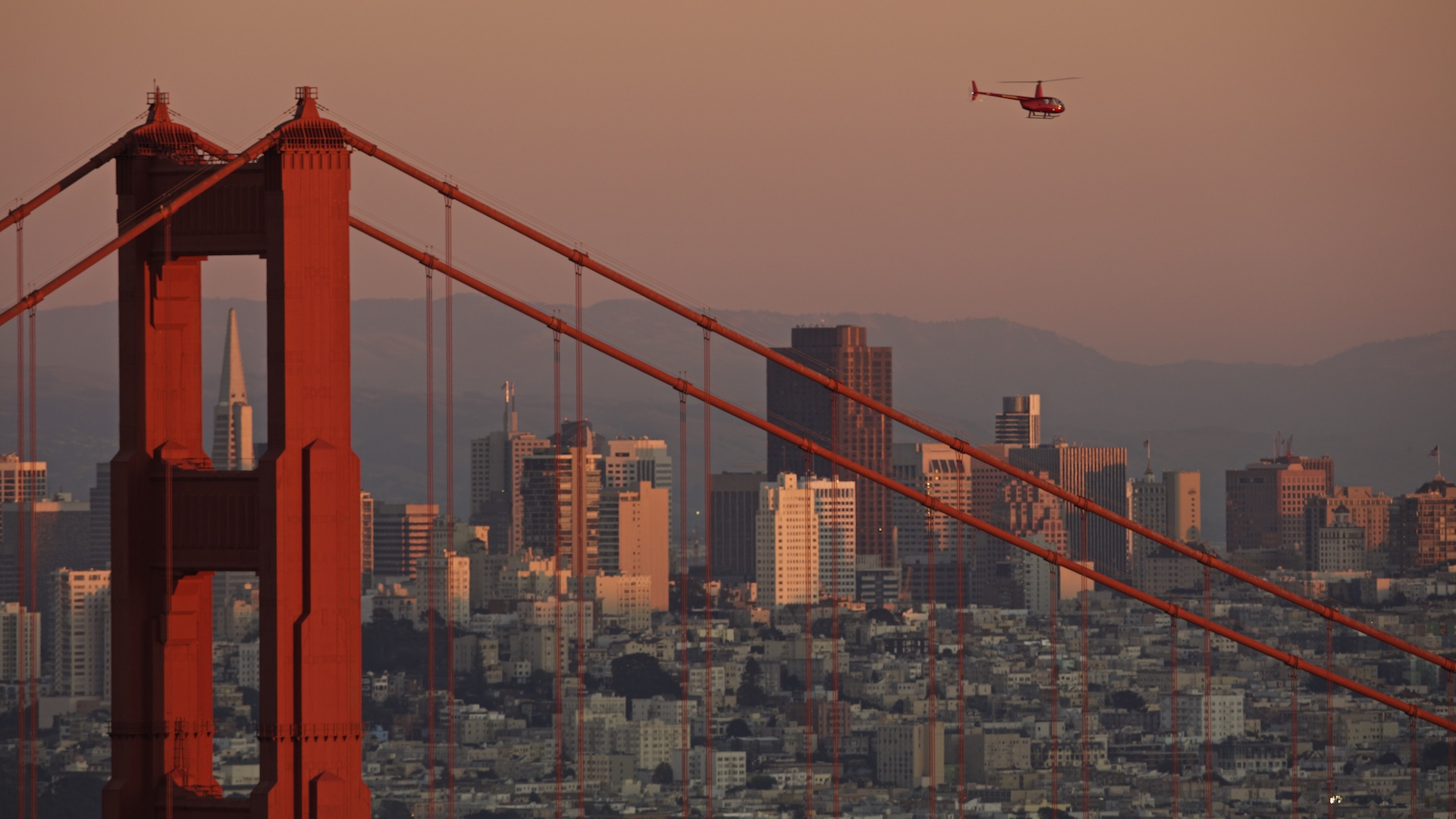 Robinson Helicopter and Golden Gate Bridge