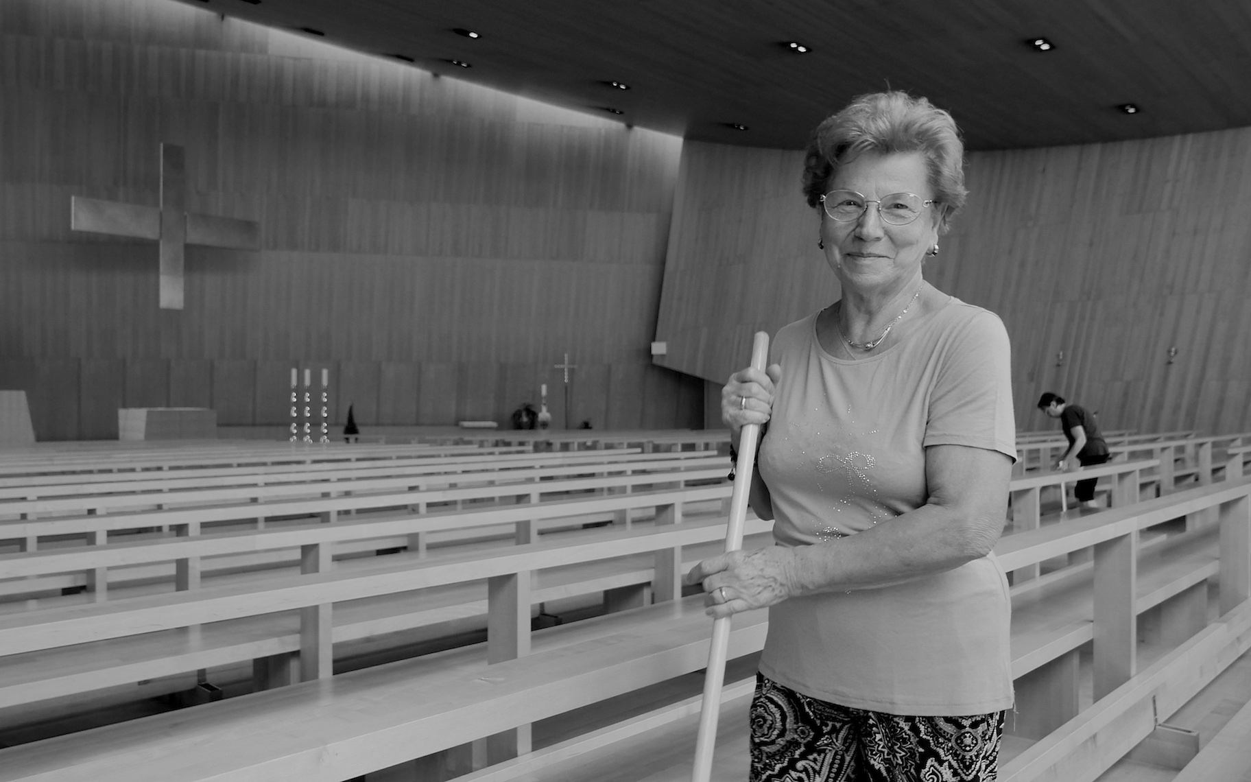 Volunteer Parishioner, Cleaning the Church of Laives, South Tyrol, Italy