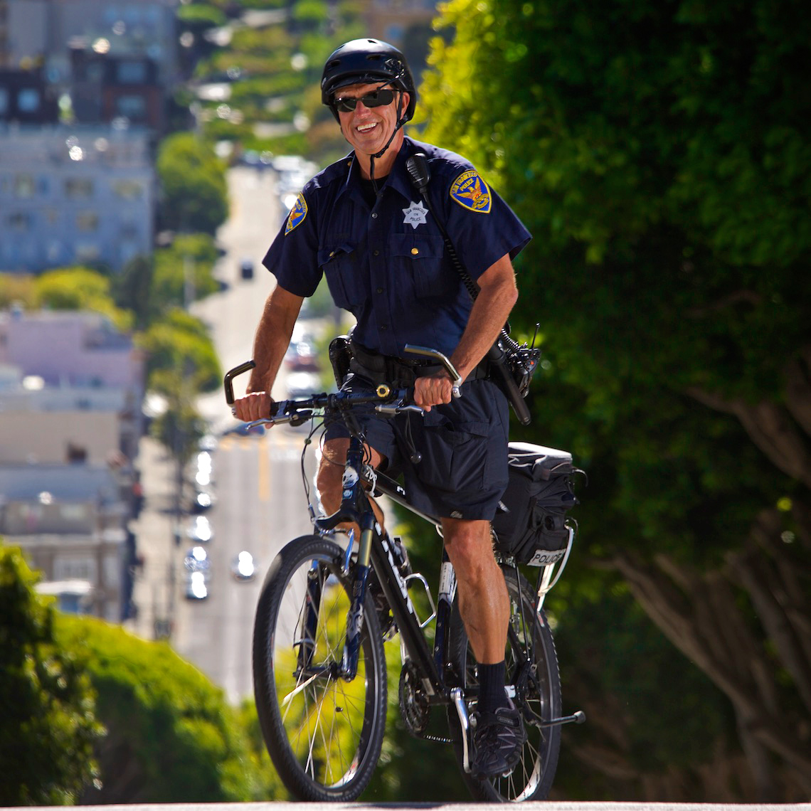 Officer Fred Crisp, SFPD, on Lombard Street