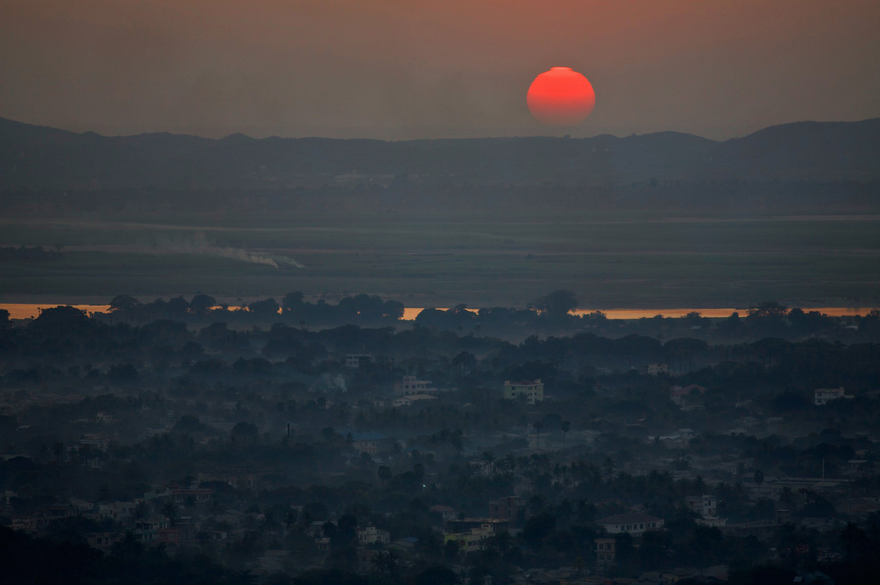 Sunset Over the Irawaddy River, Mandalay, Burma
