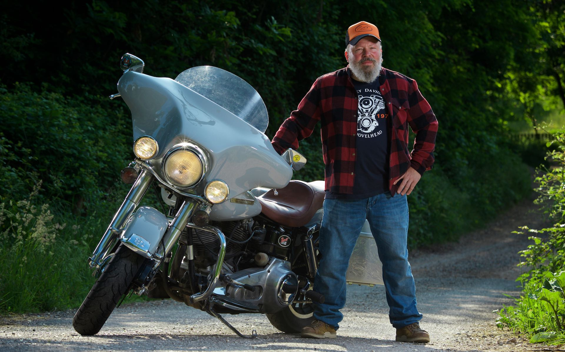 Christian Andergassen and his Harley Davidson.